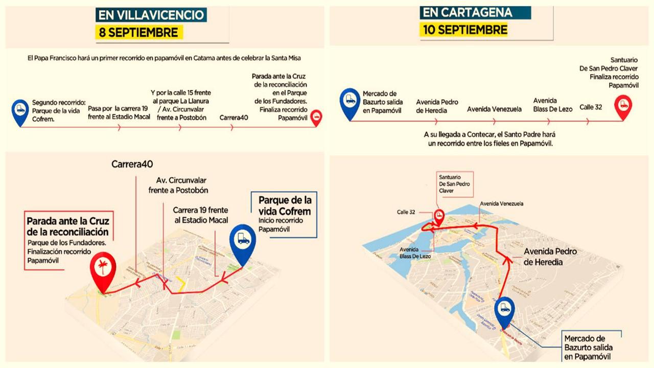 Conozca las vías por la que pasará el Papa Francisco en Villavicencio y Cartagena